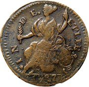 """Connecticut Copper """"Mailed Bust Facing Left over 1877 or 1887"""" – reverse"""