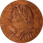 "Copper ""Mailed Bust Facing Left, Horned Bust"" – obverse"