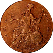 """Copper """"Mailed Bust Facing Left, Horned Bust"""" – reverse"""
