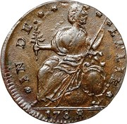 """Copper """"Draped Bust Facing Left"""" – reverse"""