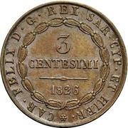 3 Centesimi - Carlo Felice – obverse