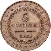 5 Centesimi - Carlo Felice – obverse