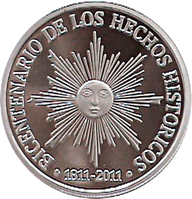 200th anniversary of independence 50 pesos 2011 coin URUGUAY