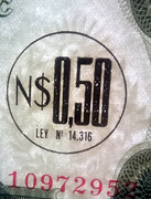 0,50 Nuevos Pesos (overprinted on 500 Pesos) -  obverse