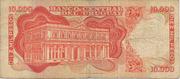 10 Nuevos Pesos (Overprinted on 10 000 Pesos) -  reverse