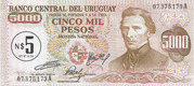 5 Nuevos Pesos (Overprinted on 5 000 Pesos) – obverse