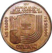 20 000 Nuevos Pesos (Gold coinage and BID Meeting; Piedfort issue) -  reverse