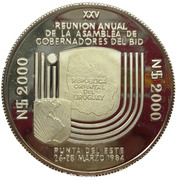 2000 Nuevos Pesos (Silver coinage and BID Meeting; Trial strike) -  reverse
