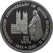 50 Vatu (Coronation Anniversary) – reverse