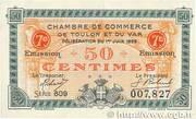 50 centimes - Chambre de Commerce de Toulon et du Var – obverse