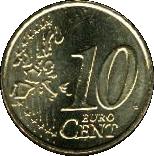 10 Euro Cent - Benedictus XVI (1st map) -  reverse
