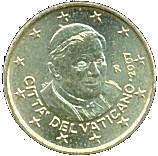 10 Euro Cent - Benedictus XVI (1st map) -  obverse