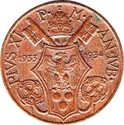 5 Centesimi - Pivs XI (Jubilee) – obverse