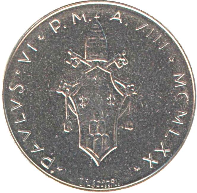 elf Vatican City 100 Lire 1971 Pope Paul VI   Dove Bird