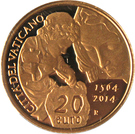 20 Euro - Franciscus (450th Anniversary of the Death of Michelangelo) – reverse