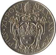 1 Lira - Pius XI – obverse