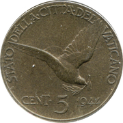 5 Centesimi - Pivs XII – reverse