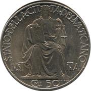50 Centesimi - Pivs XII – reverse