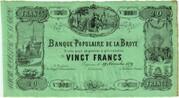 20 francs - Banque populaire de la Broye – obverse