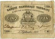 5 Francs (Banque Cantonale Vaudoise) – obverse