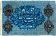 100 Francs (Crédit Agricole et Industriel de la Broye) – reverse