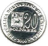 20 Bolívares (magnetic) – obverse