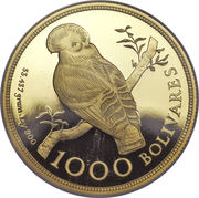 1000 Bolívares (Cock of the Rocks) – reverse