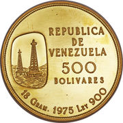 500 Bolívares (Oil industry) – obverse