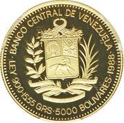 5000 Bolívares (Rafael Urdaneta) – obverse