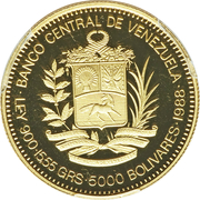 5000 Bolívares (Santiago Mariño) – obverse