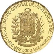 5000 Bolívares (José Antonio Páez) – reverse