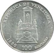 100 Bolívares (Simón Bolivar's Death) – obverse