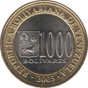 1000 Bolívares – obverse