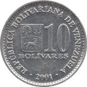10 Bolívares (non-magnetic) – obverse