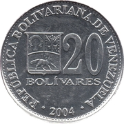 20 Bolívares (non-magnetic) – obverse