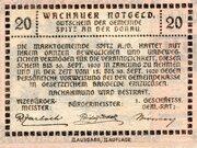 20 Heller (Wachau - Ranna-Mühldorf; Red issue) -  reverse