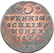 3 Pfennige - Georg Friedrich Heinrich – reverse