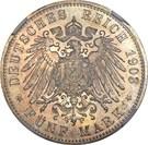 5 Mark - Friedrich Adolf Hermann – reverse