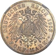 5 Mark - Friedrich Adolf Hermann – reverse
