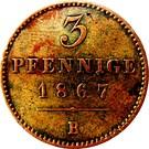 3 Pfennige - Georg Victor – reverse
