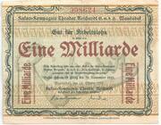1,000,000,000 Mark (Kakao-Kompagnie Theodor Reichardt) – obverse
