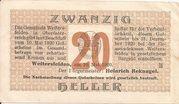 20 Heller (Weitersfelden) – obverse
