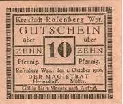 10 Pfennig (Rosenberg in Westpreußen) – obverse