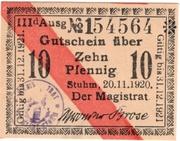 10 Pfennig (Stuhm) – obverse