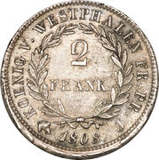 2 Franken - Jérôme Bonaparte – reverse