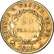 20 Franken - Jérôme Bonaparte – reverse