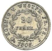 20 Franken - Jérôme Bonaparte (Tin pattern) – reverse
