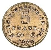 5 Franken - Jérôme Bonaparte (Copper pattern) – reverse