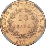 20 Franken - Jérôme Bonaparte (Aluminium bronze pattern) – reverse