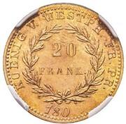 20 Franken - Jérôme Bonaparte (Copper pattern) – reverse
